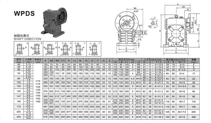 聪颖WPDS蜗轮蜗杆减速机